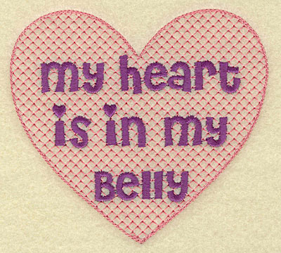 Embroidery Design: Heart in belly large  5.00w X 4.54h