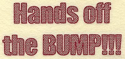 Embroidery Design: Hands off bump large 6.92w X 3.05h