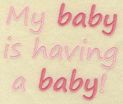 Embroidery Design: Baby having baby large 5.85w X 4.98h