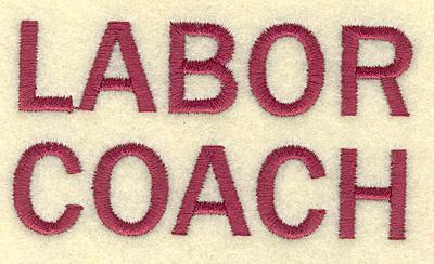 Embroidery Design: Labor coach  3.45w X 1.87h