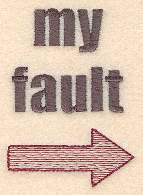 Embroidery Design: My fault 2.31w X 3.22h