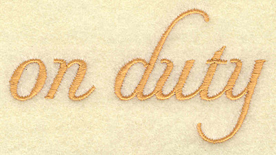 Embroidery Design: On duty 3.46w X 1.83h