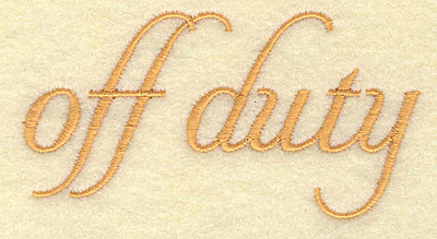 Embroidery Design: Off duty 3.46w X 1.83h