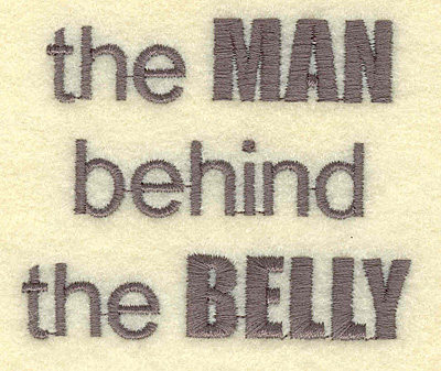 Embroidery Design: Man behind belly  2.90w X 2.40h