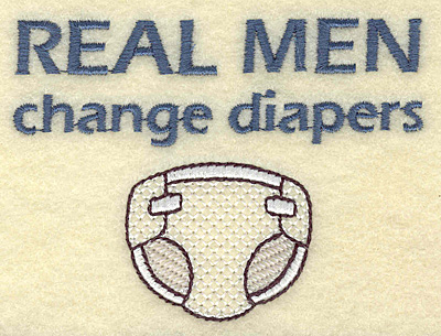 Embroidery Design: Men change diapers  3.68w X 2.72h