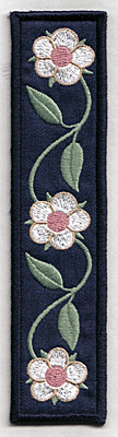 Embroidery Design: Bookmark 102 with three flowers6.70w X 1.69h