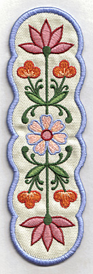 Embroidery Design: Bookmark 105 multi floral 6.96w X 2.28h