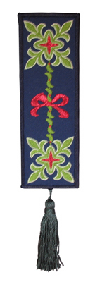 Embroidery Design: Bookmark 204 FleurDeLys and Ribbon2.36w X 6.86h