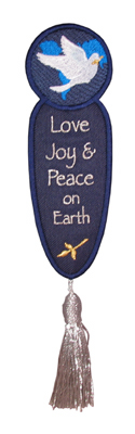 Embroidery Design: Bookmark 206 Love Joy Peace2.35w X 6.80h