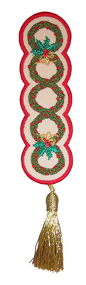 Embroidery Design: Bookmark 212 Christmas wreaths6.74w X 2.10h