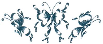 """Embroidery Design: Butterflies 16.65"""" x 2.76"""""""