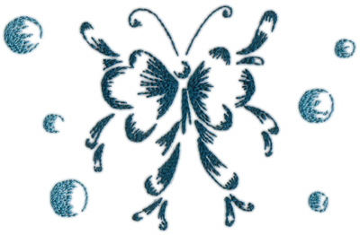 """Embroidery Design: Butterflies and Bubbles 216.80"""" x 4.42"""""""