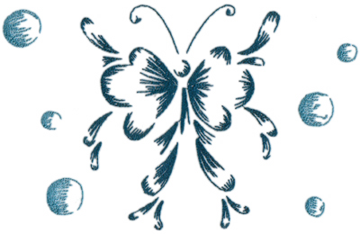 """Embroidery Design: Butterflies and Bubbles 2211.17"""" x 7.27"""""""