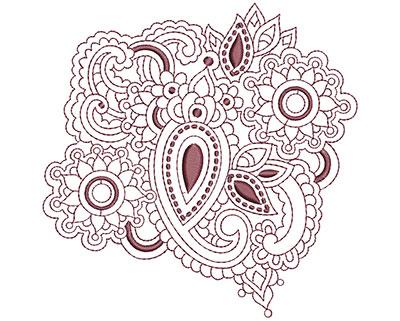 Embroidery Design: Beautiful Paisley 3 Lg 4.93w X 4.94h