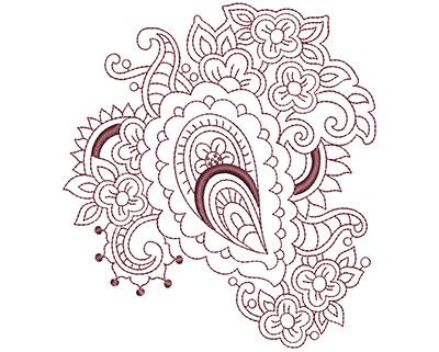 Embroidery Design: Beautiful Paisley 4 Lg 4.47w X 4.93h