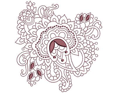 Embroidery Design: Beautiful Paisley 5 Lg 4.66w X 4.94h