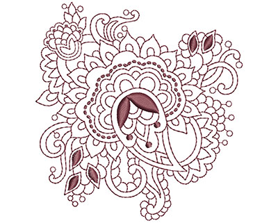 Embroidery Design: Beautiful Paisley 5 Sm 3.73w X 3.95h