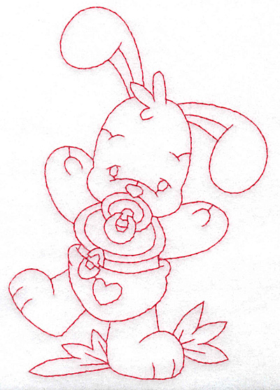 Embroidery Design: Bunny with pacifier large 3.97w X 5.67h