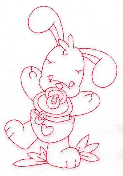Embroidery Design: Bunny with pacifier medium 3.30w X 4.72h