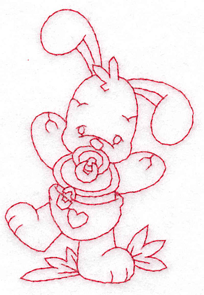 Embroidery Design: Bunny with pacifier small 2.65w X 3.78h