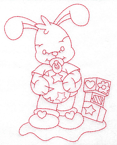 Embroidery Design: Bunny with blocks large 4.36w X 5.68h