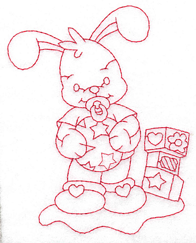 Embroidery Design: Bunny with blocks medium 3.63w X 4.74h
