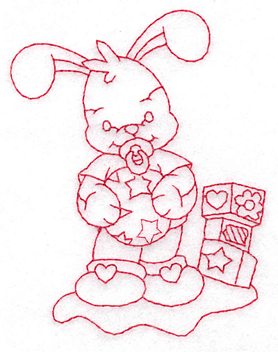 Embroidery Design: Bunny with blocks small 2.91w X 3.78h