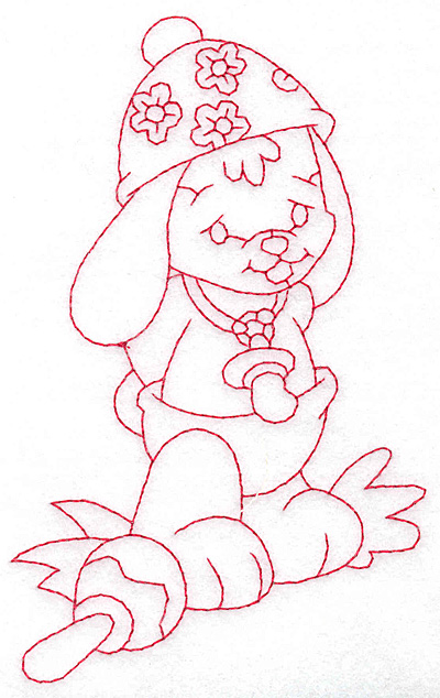 Embroidery Design: Bunny wearing hat large 3.55w X 5.68h