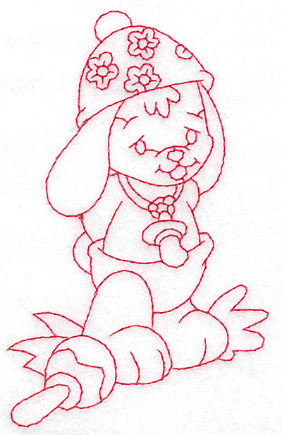 Embroidery Design: Bunny wearing hat medium 2.96w X 4.73h