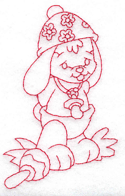 Embroidery Design: Bunny wearing hat small 2.37w X 3.78h