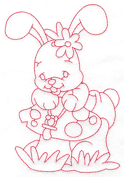 Embroidery Design: Bunny on toadstool large 4.00wX 5.7h