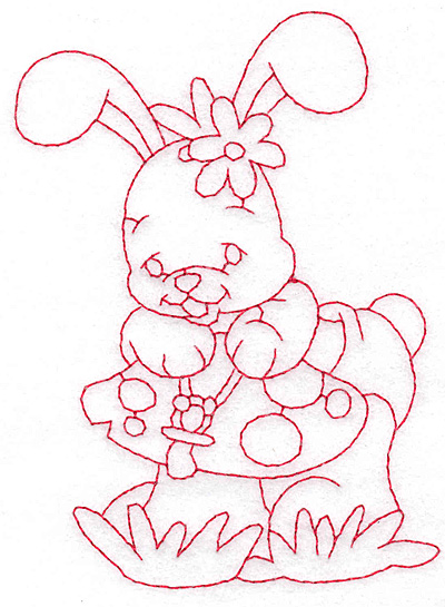 Embroidery Design: Bunny on toadstool medium 3.34w X 4.75h