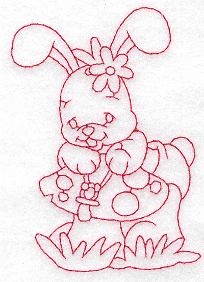 Embroidery Design: Bunny on toadstool small 2.67w X 3.80