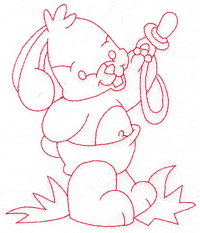 Embroidery Design: Bunny sharing pacifier large 4.40w X 5.23h