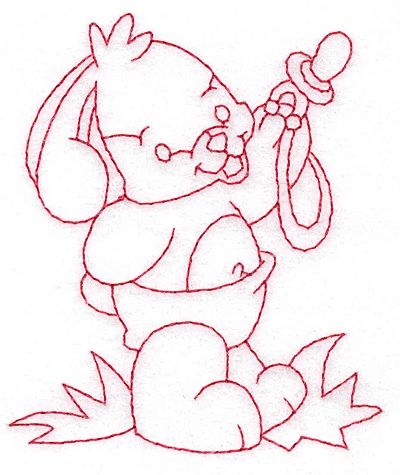 Embroidery Design: Bunny sharing pacifier small 2.93w X 3.49h