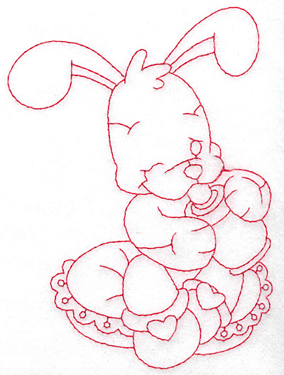 Embroidery Design: Bunny with bottle large 4.23w X 5.64h