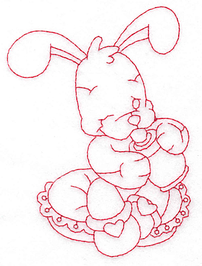 Embroidery Design: Bunny with bottle medium 3.52w X 4.70h