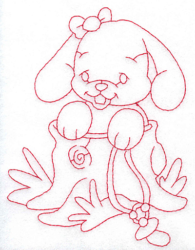 Embroidery Design: Bunny in tree trunk large 4.05w X 5.31h