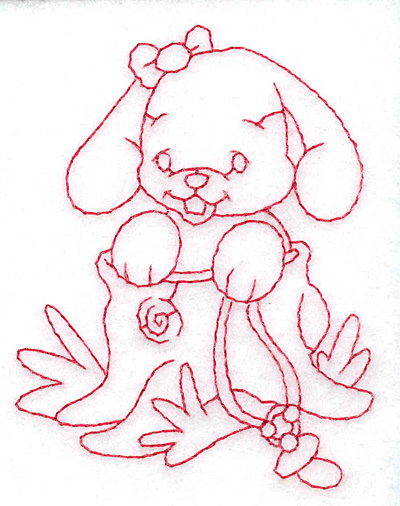 Embroidery Design: Bunny in tree trunk small 2.70w X 3.54h