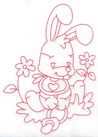 Embroidery Design: Bunny amid flowers large  3.97w X 5.70h