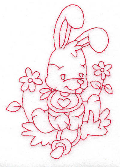Embroidery Design: Bunny amid flowers small 2.65w X 3.80h