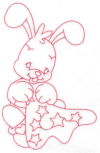 Embroidery Design: Bunny with blankie large 3.62w X 5.69h