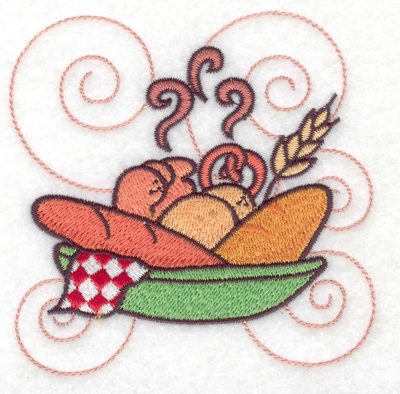 Embroidery Design: Bread in a bowl small 3.88w X 3.88h