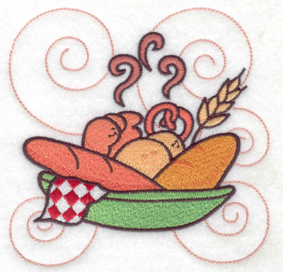Embroidery Design: Bread in a bowl large 4.99w X 4.99h