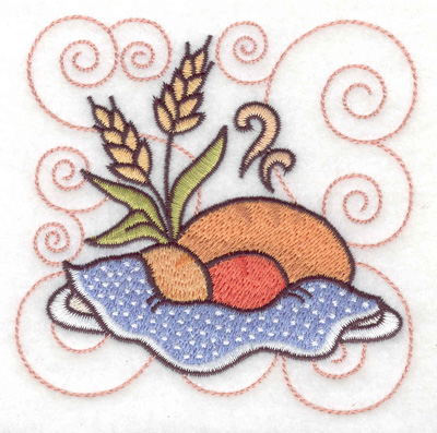 Embroidery Design: Bread rolls and wheat small 3.88w X 3.87h