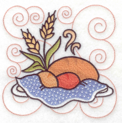 Embroidery Design: Bread rolls and wheat large 4.96w X 4.95h
