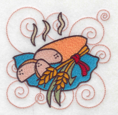 Embroidery Design: Bread with wheat sheafs small 3.89w X 3.80h