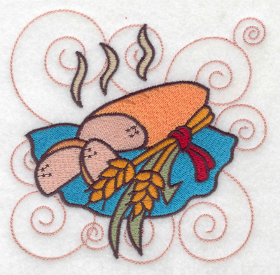 Embroidery Design: Bread with wheat sheafs large 4.98w X 4.86h
