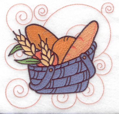 Embroidery Design: Bread in a basket large 4.98w X 4.90h