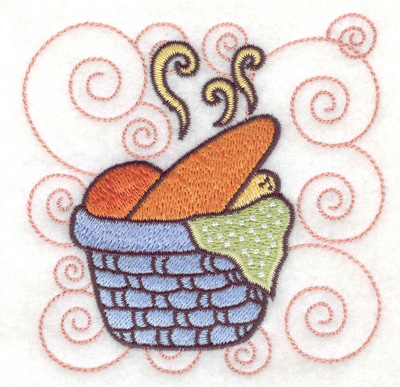 Embroidery Design: Basket full of bread small 3.87w X 3.89h